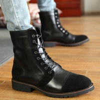 Personalized leather winter fashion pointed toe boots martin boots fashion men's hip-hop shoes leather boots