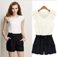 Big Sales new lace pants shorts Korean conjoined pants female Xia belt jumpsuit A278