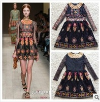 Newest Runway 2014 Spring Summer Catwalk Dress Women's Vintage Print Embroidered Long-sleeve Dress S-L free shipping
