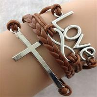 SL31209 Free shiping ! Romantic wax string chain bracelet, LOVE & CROSS pendant, 6pcs / lot