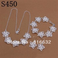 925 silver set-ASS155-2013 New Good Quality Free Shipping Charm 925 Silver Earring Necklace Jewelry Set Fashion Jewelry Set