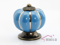 Cartoon Pumpkin Handle Cabinet Cupboard Drawer Ceramic Knob Pulls Blue Solid MBS007-6