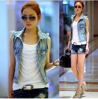 Women's Retro Washed Sleeveless Personalized Cardigan jeans Denim Vest Waistcoat Coat Jacket S,M,L free shipping xc-1077