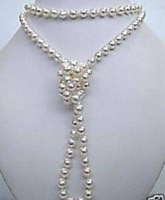 Superb natural white salt water pearl necklace 35 inchs MY1374