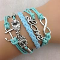 SL31217 Free shiping Trendy Casual multi-layer charm bracelets, LOVE & & Anchor & Owl pendant , 6pcs / lot