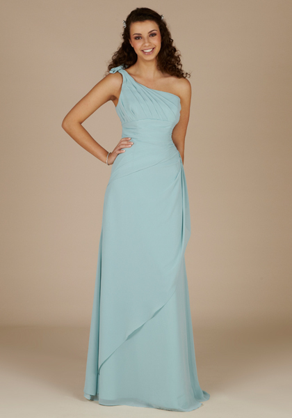 Womens Chiffon Floor Length One Shoulder Formal Evening Party Prom Dress(China (Mainland))