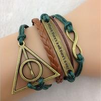 SL31222 Trendy Casual wax string multi-layer charm bracelets,Harry-Potter Password ,weave bracelets, 6pcs / lot & Free shiping