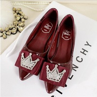Free shipping  2014 new European and American fashion models rhinestone flat shoes women's shoes