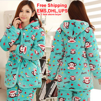 2013-New Style beautiful pajamas which can give you warmth in this cold winter sky blue cartoon Long sleeve flannel thickening