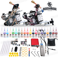 Complete Beginer Tattoo Kit 2 Machine Guns 20 color inks Power Supply Set D175-1