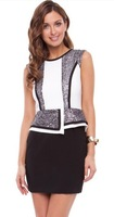 Women  Urban nights monochromatic peplum dress sequin embellishments elegant 1209