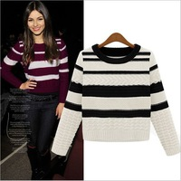 2014 Popular Womens Round neck long-sleeved striped sweater free shipping