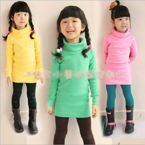 5cs/lot 2014 spring new arrival girls long sleeve cotton blouse kids candy color turtleneck tshirt 1073(China (Mainland))