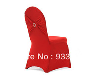 free shipping red swag desgin chair cover with diamond buckle at back