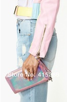 Free shipping 2014 New fashion silver clutch Punk envelope ladybags,leather shoulder bag Wallet Purse Pastel Violet laser Clutch
