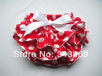 Red/White Dots Bloomers Baby Infant Summer Hot Bloomers Girls/Boys Shorts with Ribbon Bow Baby Diaper covers 3Sizes
