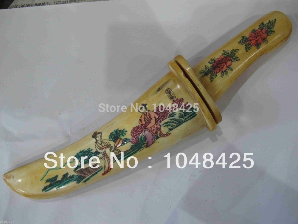 Rare China bone painting belle Sword gg522(China (Mainland))