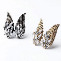 Min Order $18(Can Mix Item)Fashion ANtique Gold Silver Color Alloy White Rhinestone Wing Design Punk Finger Rings