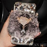 Luxury fox Bling Rhinestone Diamond for samsung galaxy S5 note4 note3 note2 s4 s3 i9500 n7100 N9000 wallet flip leather case