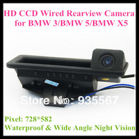 Free Shipping high quality HD CCD car rear view camera for  BMW 3/ BMW5/ BMW X5(Handle Position) 728*582 night vision waterproof