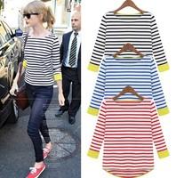 2014 New Fashion S-XXL Free Shipping Women's Plus size Striped cotton long sleeve T-shirt W4277