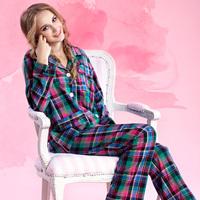 Ruiou autumn and winter thin plaid fashion sleepwear female 100% cotton long-sleeve lounge plus size 100% cotton sleepwear