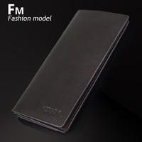 free shipping Fm genuine leather wallet male long design multi card holder purse cowhide folder wallet card case commercial