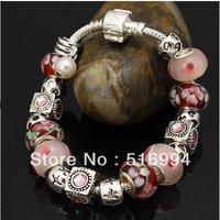 B2 Free shipping charm bracelet for woman 2013 New bracelets silver fashion 925 silver chamilia beads bracelets