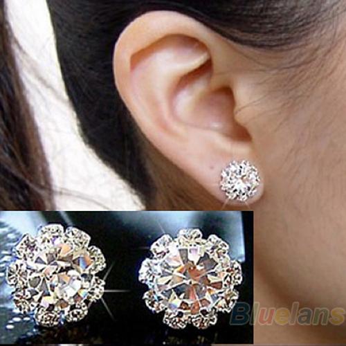 2014 Brand New FASHION spherical Crystal Flower Stud Earrings for Women 0294