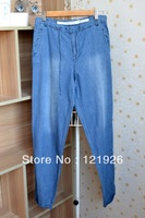 Women Loose Cool Jeans Baggy Boyfriend Style Light Denim Blue Washed Ealstic Waist Trousers S L