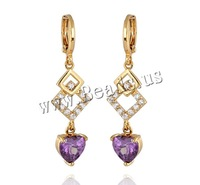 Free shipping!!!Brass Lever Back Earring,Brand, 18K gold plated, with cubic zirconia, nickel, lead & cadmium free, 40x8mm