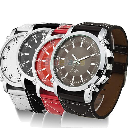 Min. 16 New Fashion Luminous Men Watches Male Faux Leather Oversized Quartz Hands Wrist Watch Vintage Style Wristwatch 0256(China (Mainland))
