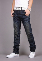 NEW MENS SLIM FIT LONG JEANS TROUSERS DARK BLUE SIZE 28-36