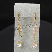 Free shipping!!!Brass Lever Back Earring,Luxury, 18K gold plated, with cubic zirconia, nickel, lead & cadmium free, 52x6.5mm