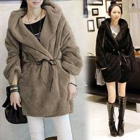 New Women Fashion Faux Fur Cardigan Hooded Hoodie Outerwear Down Coat Warm long #L0341436