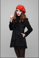 Chic Womens Winter Warm Lace Stitching Faux Rabbit Fur Collar Woolen coat New