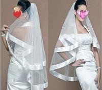 Noble 2T White Vintage Wedding Veil Double-wide ribbon edge veil inserted Comb  Mantilla