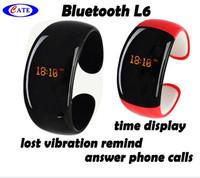 50pcs/lot Fashion Bluetooth Bracelet Vibrating LCD Caller ID Alert Anti-Loss Digital time L6 with speaker
