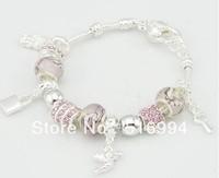 B5 2013 New 925 silver chamilia beads bracelets Free shipping charm lock bracelet for woman bracelets silver fashion
