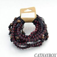Wholesale Lot f 10PCS Handcrafted Tibetan Burgundy Yak Bone Bead Black Braided Bracelet