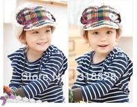 Free shipping Fashion chidren cotton Bomber Hats,plaid ear warming hats, baby cap,2 colors,MOQ 1piece