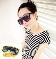 fashion ladygaga women's vintage retro gold chain sunglasses punk rock black sunglass glasses for women girls oculos 131207
