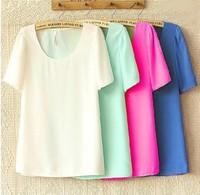 FS2408 Summer new arrival 2013 plus size clothing loose chiffon t-shirt short-sleeve o-neck top chiffon shirt