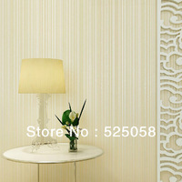 10M Modern Lines Non-woven Flocking Wallpaper Rolls,Living Room,TV .Beige