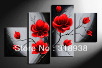 100% Hand made Pink flowers bloom High Abstract landscape Wall Decor Oil Painting on canvas 4pcs/set mixorde Framed/AF395