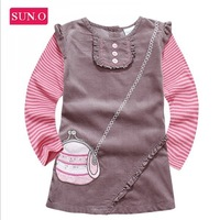 2014 New arrival fashion embroidery brand designer kids dresses, girl's dress corduroy dress  girls clothing