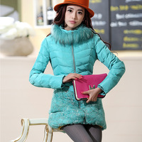 1312 2013 winter organza lace slim fur collar slim wadded jacket