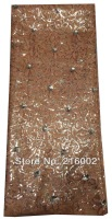 Free shipping by DHL, African embroidered mesh lace fabric with sequins. BROWN wedding dress fabric. 5yds/pc net lace.