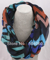 5 colors, brand new 2013 fall&winter dress fashion designer galaxy wavy stripes print viscose infinity scarves for women