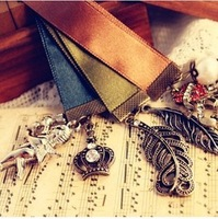 fashion accessories delicate ribbon bookmark feather skull 3